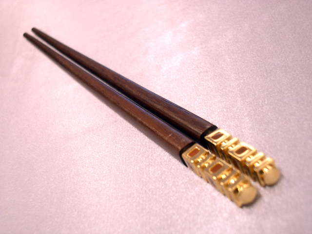 H2F2319G Golden double happiness wooden chopstick